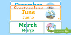 * NEW * Months of the Year Display Banner Pack English/Portuguese