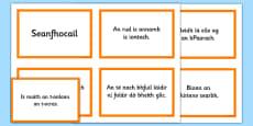 Irish Gaeilge Seanfhocail Display Cards