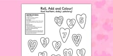 Valentines Day Colour And Roll Worksheet Polish Translation