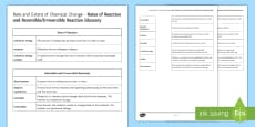 Rate and Extent of Chemical Change Glossary Activity