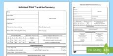 * NEW * EYFS Individual Child Summary Transition Sheet
