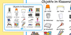 Classroom Objects Word Mat German