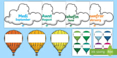 * NEW * Months of the Year on Hot Air Balloons English/Welsh