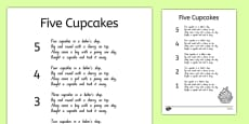 Five Cupcakes Nursery Rhyme Sheet