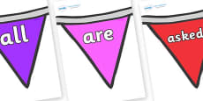 Tricky Words on Bunting  (Multicolour)