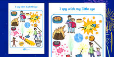 Bonfire Themed I Spy With My Little Eye Activity Sheet