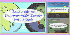 Renewable and Non-Renewable Energy Sorting Cards
