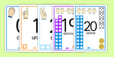 Visual Number Line Posters 0 to 20 Spanish
