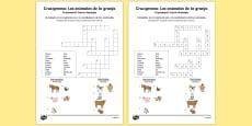 Farm Animals in Spanish Crossword
