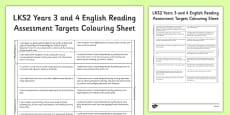 2014 Curriculum LKS2 Years 3 and 4 Reading Assessment Targets Colouring Sheet