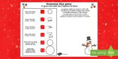 Snowman Dice Game Activity Sheet English/Italian