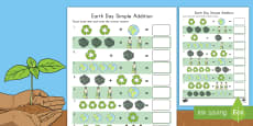* NEW * Earth Day Simple Addition Activity Sheet
