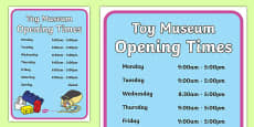 Toy Museum Opening Times Poster
