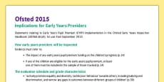 Ofsted 2015 Implications for Early Years Providers Fact Sheet
