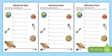 Space Alphabet Ordering Activity Sheet
