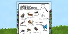 Minibeast Hunt Sheet Romanian