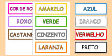 Colours Vocabulary Cards Portuguese