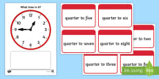 Clock Matching Game - Quarter To