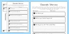 New Classmate Interview Activity Sheet