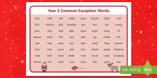 Christmas Themed Year 2 Common Exception Words Mat