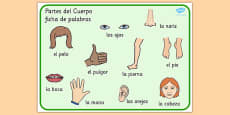 Spanish Parts of the Body Word Mat