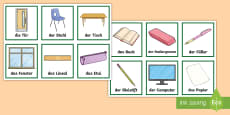 * NEW * Classroom Objects Snap Card Game German