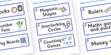 Bluebird Themed Editable Maths Area Resource Labels
