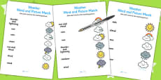 Weather Word and Picture Matching Activity Sheet