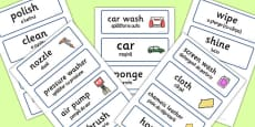 Car Wash Role Play Word Cards Romanian Translation