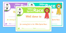 Sports Day 100m Sprint Certificates