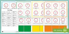 Half Past and O'Clock Time Bingo Gaeilge