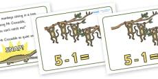 Five Little Monkeys Number Sentence Frames