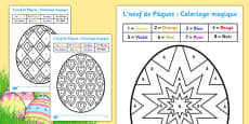 L'oeuf de Pâques : Coloriages magiques