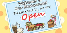 Restaurant Role Play Pack Open Sign