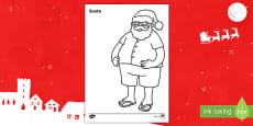 New Zealand Christmas Santa Colouring Page