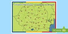 Orasele Romaniei pe harta Planșă format A4