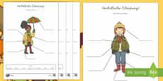 Herbst Kleidung zum Beschriften Arbeitsblätter: Unterschiedliche Schwierigkeitsgrade