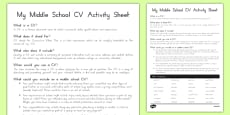 My Middle School CV Activity Sheet