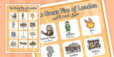 The Great Fire of London Vocabulary Poster Arabic Translation