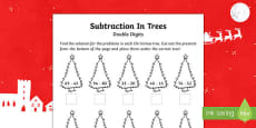 Double digit subtraction Christmas Activity Sheet
