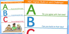 ABC Agree Build On and Challenge Ideas Display Poster