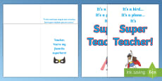 * NEW * My Teacher Is a Superhero Gift Card Template