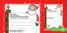My Christmas Wish Letter to Santa English/Afrikaans