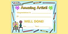 Amazing Artist Award Certificate
