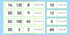 2, 5 and 10 Times Table Multiplication and Division Missing Number Loop Cards