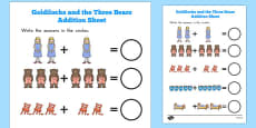 Goldilocks and the Three Bears Addition Sheet