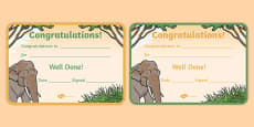 Elephant Themed Certificates
