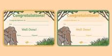 Elephant Themed Certificates