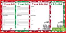 Christmas Menu Template Activity Sheet Spanish