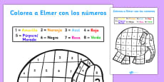 Elmer Colour by Number Sheet Spanish